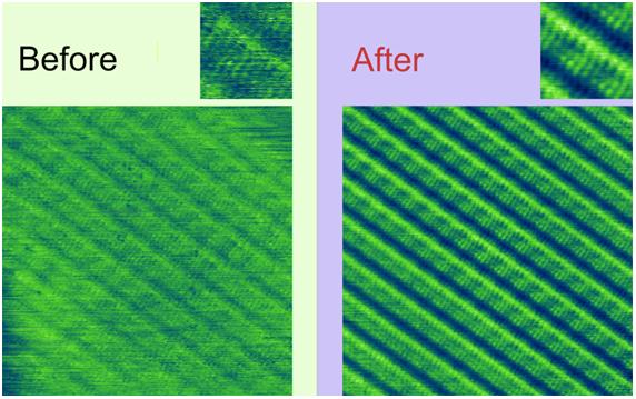Изображение пленки додециламина на поверхности графита, полученное в СТМ и улучшенное при помощи функции Найти структурный элемент в программе ФемтоСкан Онлайн.