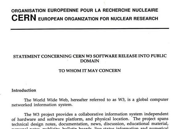 Документ ЦЕРНа, опубликованный 30 апреля 1993 года, разрешающий свободное использование технологий WWW