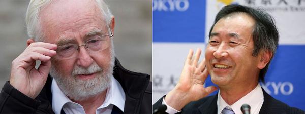Лауреаты Нобелевской премии по физике 2015 года: Артур Брюс Макдональд (Arthur Bruce McDonald) и Такааки Кадзита (Takaaki Kajita)