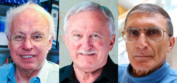 Лауреаты Нобелевской премии по химии 2015 года: Томас Линдаль (Tomas Lindahl), Пол Модрич (Paul Modrich) и Азиз Санджар (Aziz Sancar)